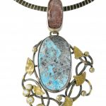 Turquoise and Rose Agate Pendant
