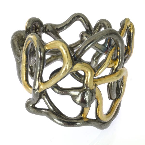 Silver, Gold and Pewter Twisted Ring