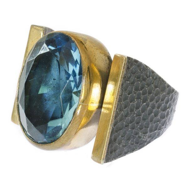Blue Topaz Ring with Hammered Silver Band