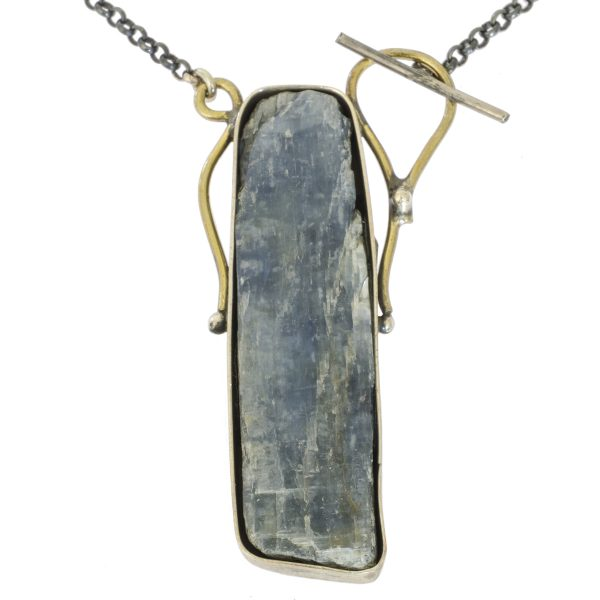 Rough Blue Quartz with Gold Plated Silver Necklace