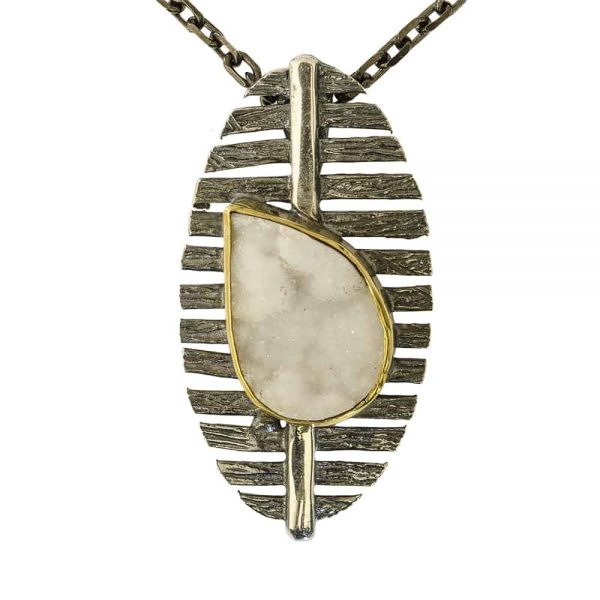 Modern silver and druzy quartz pendant studio 77 jewlery 18500 mozeypictures Image collections