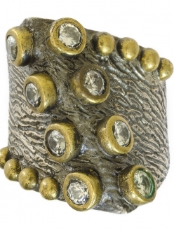 Swarovski Crystals on Rustic Silver and Gold Ring