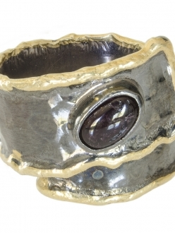 Garnet Ring with Silver and Gold Band