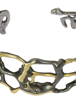 Contemporary Gold and Pewter Twisted Cuff