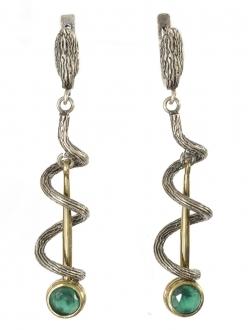 Silver Twist and Green Quartz Earrings