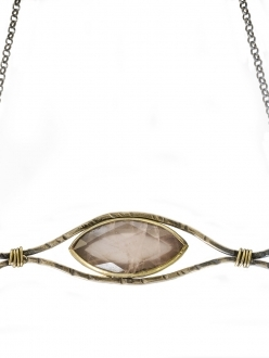 Pink Quartz with Gold Plated Silver Necklace