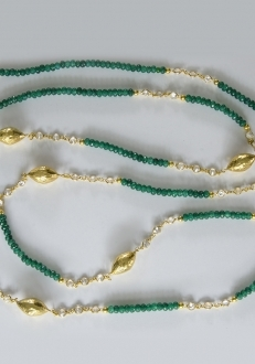 Raw Emerald Necklace with Swarovski Crystals and Gold Accents