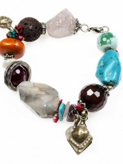 Natural Stone and Silver Bracelet