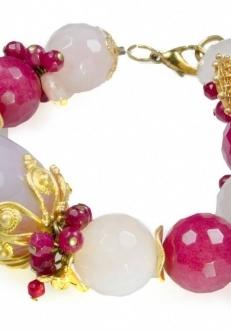 Elegant Red & White Quartz Bracelet