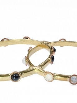 Three Gold Bangles with Natural Stones