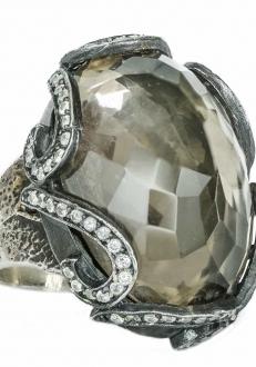 Smoky Crystal Ring