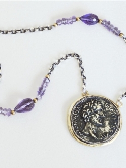 Silver Coin Necklace with Amethyst Stones