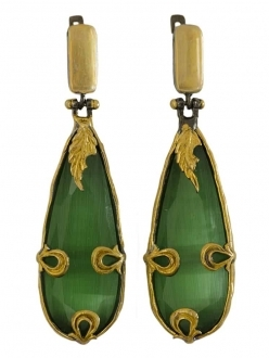 Glamorous Green Sapphire Earrings with Gold Leaf