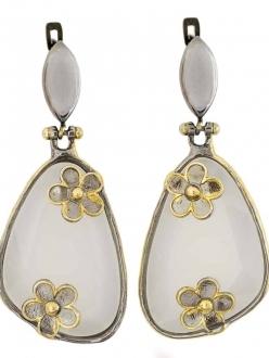 Flower Power White Quartz Earrings