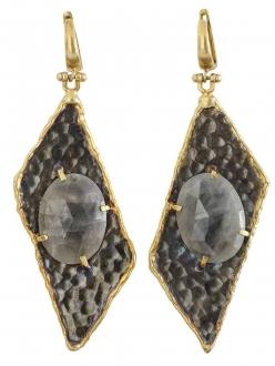 Contemporary Geometric Raw Sapphire Earrings