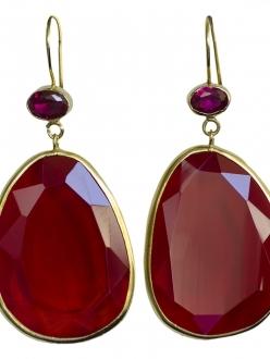 Garnet Crystal Faceted Earrings