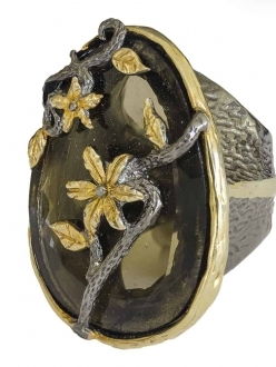 Smokey Topaz Flower RIng
