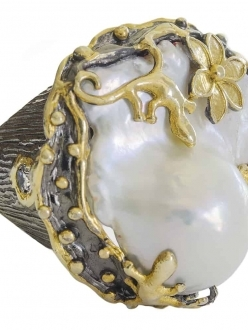 Raw Mother of Pearl Flower and Lizard RIng