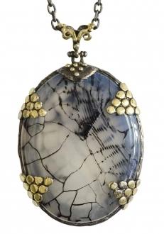 Unique Blue-Gray Agate Pendant