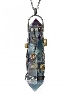Tourmaline Prism with Vines Pendant