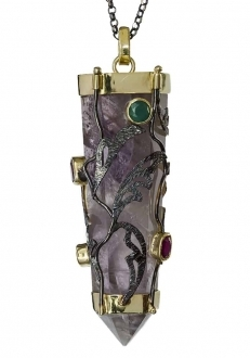 Amethyst Prism with Vines Pendant