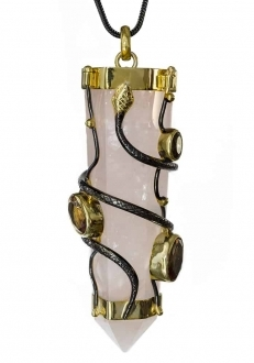 Pink Quartz Prism with Snakes Pendant