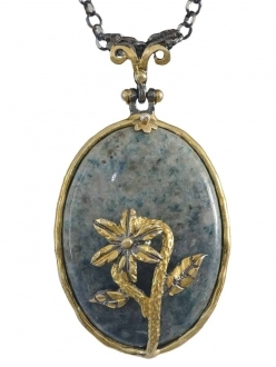 Apatite Stone with Flower Pendant