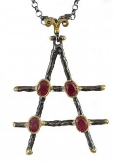 Raw Ruby Triangle Pendant