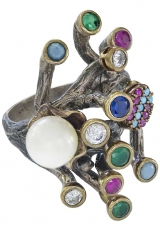 Freshwater Pearl and Multi-Stone Coral Shaped Ring