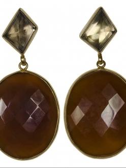 Brown Agate and Smokey Topaz Earrings