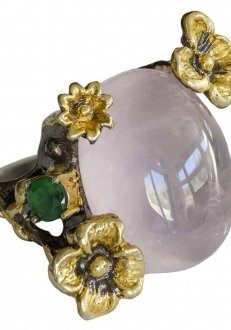 Pink Cosmo Quartz Ring with Flowers