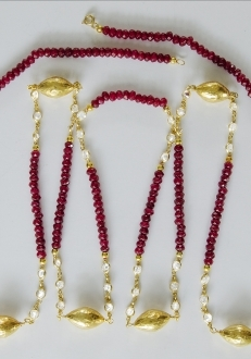 Raw Ruby Swarovski Crystal Necklace with Gold Accents
