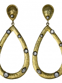 Hammered Gold Teardrop Earrings with Swarovski Accent