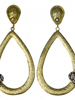 Hammered Gold Teardrop Earrings with Swarovski Crystal Bumble Bee Accent