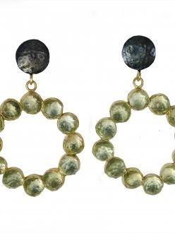 Retro Green Quartz Bubble Earrings