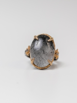 Natural Quartz Crystal Ring Embellished with Flowers