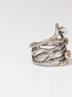 Twisted Silver Ring Adorned with Freshwater Pearl Bead and Swarovski Crystals