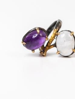 Yin Yang Amethyst and Opal Ring