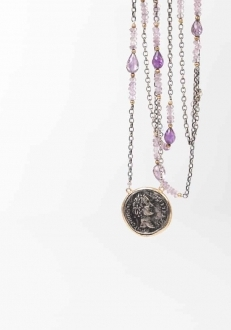 Roman Coin and Amethyst Necklace