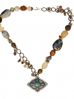 Multi-Stone Necklace with Antique Brooch
