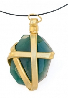 Green Agate Wrapped in Gold Pendant