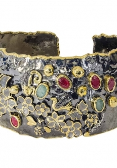 Raw Emerald and Ruby Cuff with Flower & Butterfly Motif