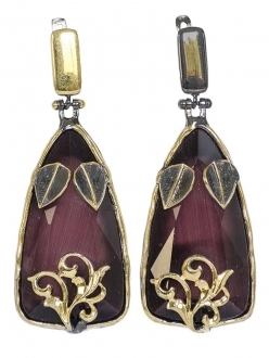 Red Wine Sapphire Earrings with Gold Accent
