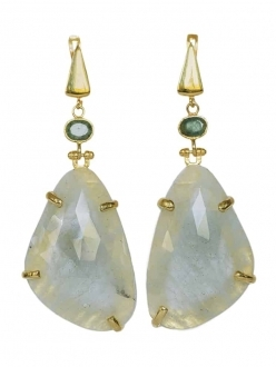 White Sapphire with Emerald Earrings