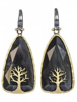 Black Onyx Earrings with Gold Tree