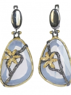 Moonstone Earrings with Gold Flower Accent