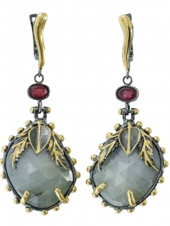 Green Quartz and Ruby Earrings with Gold Leaf Accent