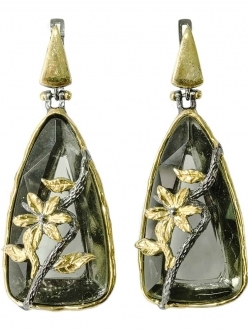Black Smokey Crystal Earrings with Gold Flower Accent