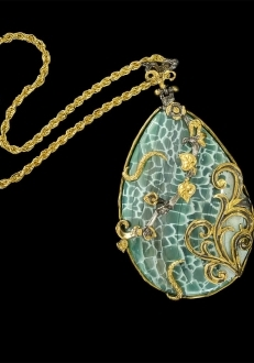 Rare Blue Agate Pendant with Gold Detail