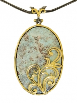 Turquoise Pendant with Gold Detail